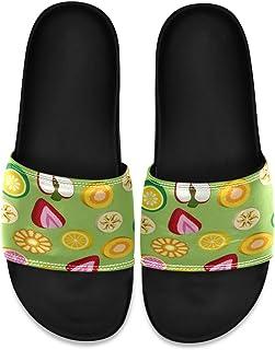 Ladninag Strawberry Lemon Green Men's Leather Slide Sandals Summer House Slippers Wide Boys