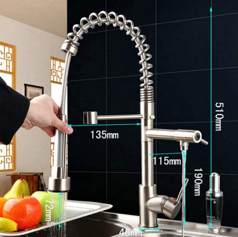 Küchenarmatur aus gebürstetem Nickel, herausziehbar, drehbar, Warm-   Kaltmessing, Waschbecken, Torneira Cozinha-Wasserhahn, Mischbatterie