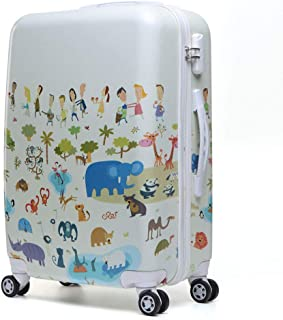 Cartoon Animal Villain Trolley case Children Cute Suitcase Going Out Suitcase White 22 inch