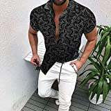 Camisa de Cuadros Men's Summer Short Sleeved Casual Shirt Male Hawaii Vacation Leisure Lapel Printed Top Dress Shirts Men XL70-75kg C009