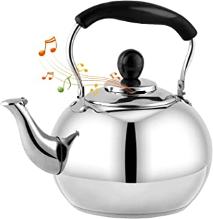 DclobTop Stove Top Whistling Tea Kettle 2.5 Quart Classic teapot appearance Culinary Grade Stainless Steel Teapot Composit...