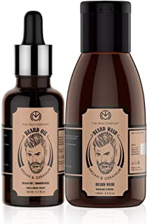 The Man Company Argan & Geranium Combo for Beard, Moustache & Mooch Nourishment: Pack of 2 - Beard Oil [30ml] and Beard Wash [100ml]