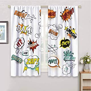 HouseLook Superhero Room Darkening Blackout Drapes Old Fashioned Comics Inspired Artwork Retro Fictional Effects Cartoon Motifs Room Darkening Thermal Solid Curtain W97 x L97 Inch Multicolor