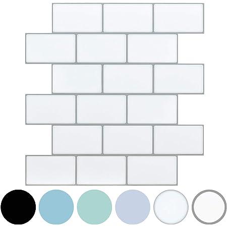 LONGKING White Subway Tiles Peel and Stick Backsplash, Stick on Tiles Kitchen Backsplash (Pack of 10, Thicker Design)