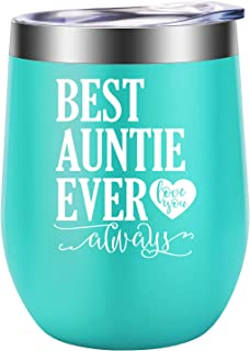 Great Aunt Gifts, Aunt Mug, Best Auntie Ever - Gifts for Aunts from Niece, Nephew - Best Aunt Ever Gifts for Aunt Birthday, Christmas - Funny Auntie Gifts for Cool, New Aunt - LEADO Aunt Wine Tumbler