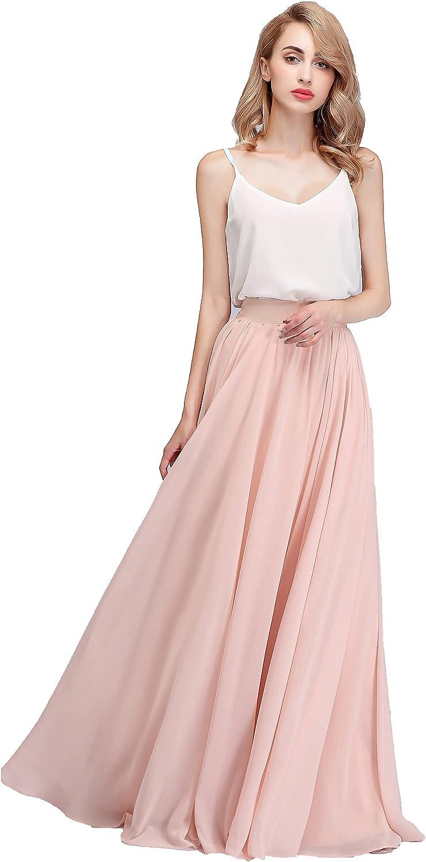 honey qiao Long Chiffon Skirts Maxi Bridal Dresses Women Floor Length High Waist Bridesmaid Dresses
