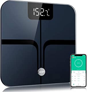 Body Fat Scale Bluetooth,【Upgrade High-Precision】Smart BathroomScaleBMI Digital Scale Wireless Body Composition Analyzer and Weighing Monitor with Free APP sync, 396 lbs-Black