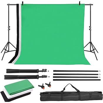 Gris 3 /× 2m Toile de Fond Photographie en Mousseline Support Syst/ème de Toile de Fond Pliable Abstrait Fond Gris//Bleu//Vert//Blanc//Noir pour Photographie Vid/éo T/él/évision