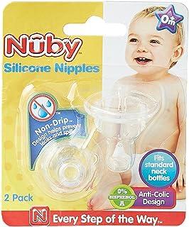 Nuby- ID00921 - Teats - Set of 2 silicone bottle neck teats STD-Var + 4 months