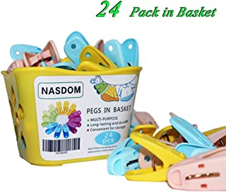 24 Pack Clothespins in Basket Mini Colored Utility Clips Holders Laundry Windproof Plastic Pegs for Outdoor Clothesline, Kitchen Bag Sealing