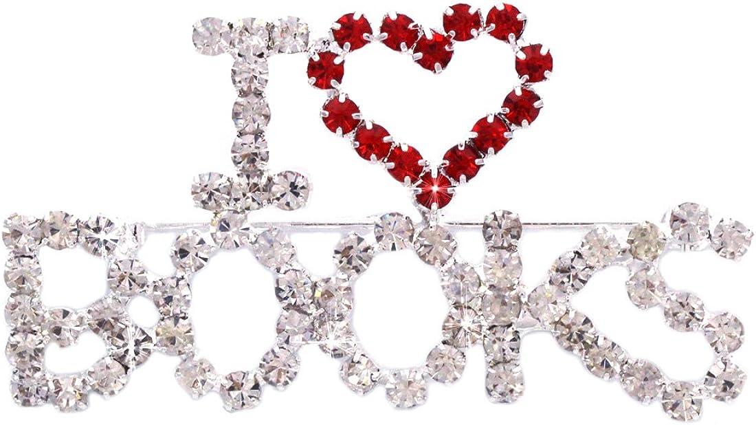 I Love Books Word Heart Brooch Pin Jewelry