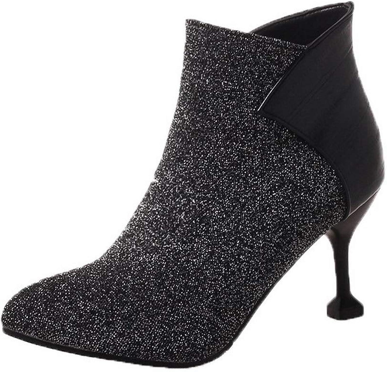 AmoonyFashion Women's Assorted color Blend Materials Zipper Round-Toe Boots, BUSXT128016