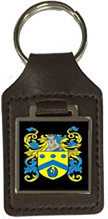 Dutton Family Crest Surname Coat Of Arms Brown Leather Keyring Engraved