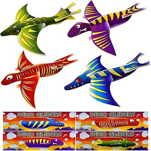German Trendseller® - 4 x Dino Flug - Gleiter ┃ Flugsaurier ┃ Jurassic Crazy┃ Dinosaurier ┃ Kindergeburtstag