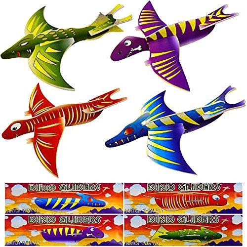 German Trendseller - 4 x Dino Flug - Gleiter ┃ Flugsaurier ┃ Jurassic Crazy┃ Dinosaurier ┃ Kindergeburtstag