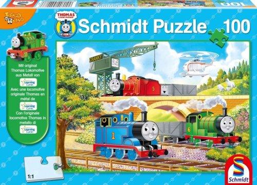 Schmidt Spiele 55408  - Puzzle, Thomas y Sus Amigos, Entrar en Sodor, 100 Piezas Figura de Percy