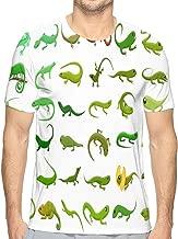 Mens Fashion Casual Basic Short Sleeve T-Shirts Lizard Icons Set Cartoon Style Lizard Icons Set Cartoon Set Lizard Icons Web