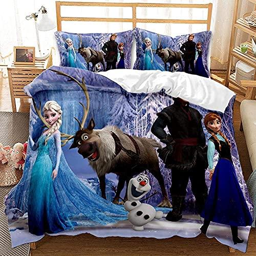UOUO Set di biancheria da letto 3D Frozen per griglie, Lady Anna Elsa Principessa Cartoon Printting Set copripiumino con cerniera 1 copripiumino con 2 federe Queen Size