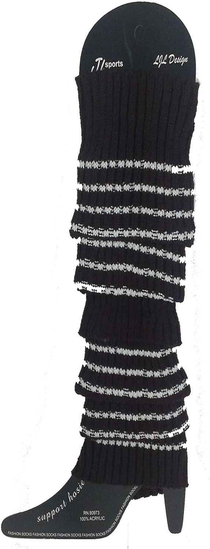 Black Knit Leg Warmers with Stripe 84