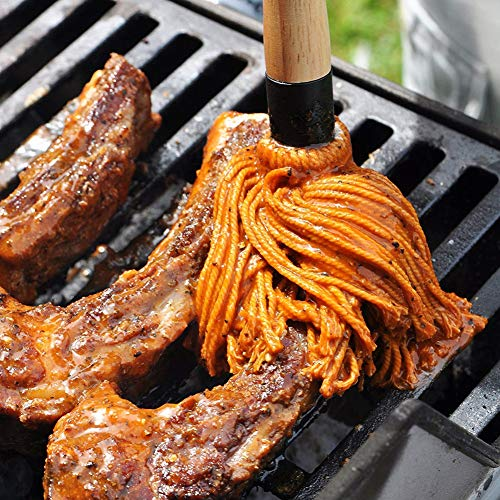 RENNICOCO BBQ Basting Mops zum Braten oder Grillen, Barbeque Sauce, Marinade oder Glasur, Cotton Fibre Head und Naturholzgriff, Dish Mop Style, perfekt zum Kochen oder Reinigen