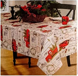 """Winter Wonder Lane Vintage Red Pickup Truck Carrying Tree Fabric Tablecloth (60""""x84"""")"""