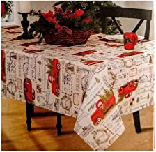Winter Wonder Lane Vintage Red Pickup Truck Carrying Tree Fabric Tablecloth (60