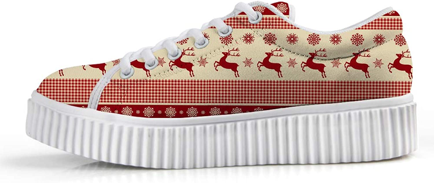 Owaheson Platform Lace up Sneaker Casual Chunky Walking shoes Low Top Women Ugly Christmas Reindeer Snowflake