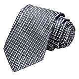 GASSANI Schmale Herren-Krawatte Dunkel-Graue Vichy Karo-Muster, Skinny Slim Dünne Karierte Hochzeitskrawatte Herrenschlips, Moderne Breite 7cm