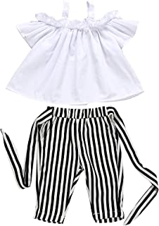 Baby Girls Summer Off Shoulder Solid Color T-Shirt Tops + Stripe Long Pants with Belt Outfits Clothes Set