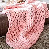 Chunky Knit Blanket Merino Wool Hand Made Throw Boho Bedroom Home Decor Giant Yarn,Pink,32'x32'