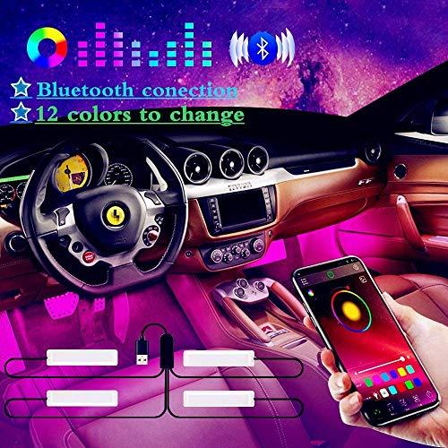 Auto LED Innenbeleuchtung, Winzwon RGB Auto LED Innenbeleuchtung mit APP, Auto LED Fußraumbeleuchtung Fußraum Ambientebeleuchtung Auto Innenraum Strip Atmosphäre Licht mit USB Port
