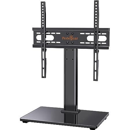 Support TV sur Pied TV Universel - pour de 26-55 Pouces Télévision,Réglable en Hauteur Max Charge 40kg VESA 400x400 mm,avec la Base en Verre Trempé & Gestion des Fils