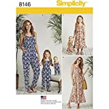 Simplicity 8146 Matching Sets for Misses, Child, and Doll Jumpsuit and Maxi Dress Sewing Pattern, XS-XL