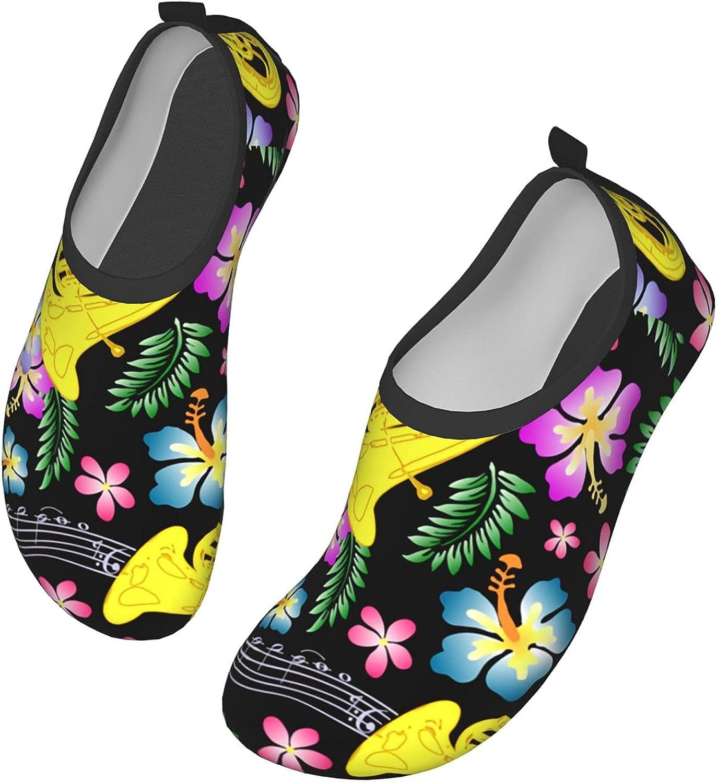 WOAIDY Women/Men Flower Musical Instruments Water Shoes Outdoor Beach Aqua Socks Barefoot Shoes Surfing Yoga Swim Exercise,