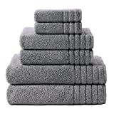COTTON CRAFT - Super Zero Twist 6 Pack Towel Set, Charcoal, 7 Star Hotel Collection Beyond Luxury Softer Than A Cloud, Contains 2 Oversized Bath Towels 30x54, 2 Hand Towels 16x30, 2 Wash Cloths 13x13
