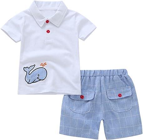 Baby Boys Cotton Summer Sets Shortsleeve Cartoon Animals Pattern T-Shirts Shorts 2Pcs Clothing Sets