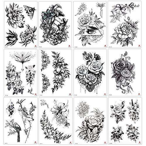 12 Blätter Rose Blume Temporäre Tattoos Frauen Körper Arm Beine Tattoo Aufkleber Gefälscht Wasserdicht Tätowierung Sexy Pfingstrose Temporary Tattoos