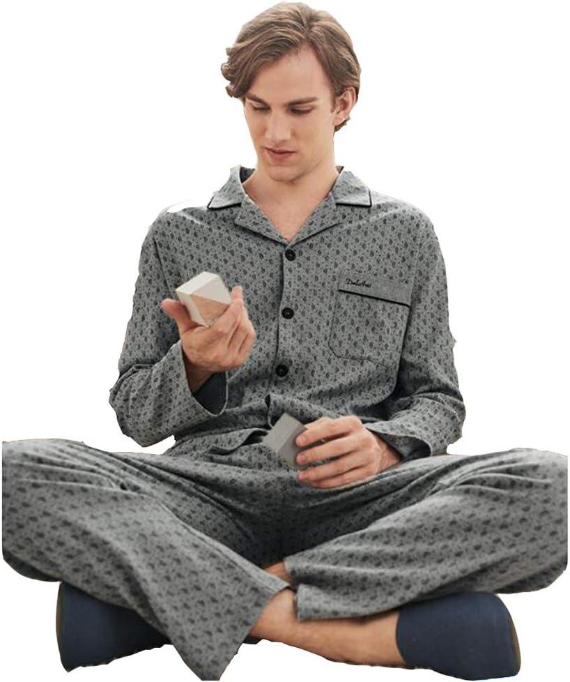 Sleepwear Pajama Set Men's Pajamas Spring and Autumn Long Sleeve Lapel Home Service Thin Pajamas (Color : Gray, Size : M (170))