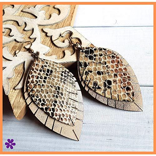 Blätter Hängerohrringe, Ohrringe Schlangen Muster, Beige Braun Creme Vintage Bronze