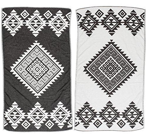 Bersuse 100% Katoen - Yucatan Turkse Handdoek - Peshtemal Strandlakens - Aztec Design - Dual Layer - 100 x 180 cm, Zwart