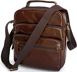 Genda 2Archer Men's Leather Crossbody Bag Shoulder Messenger Bag One Size Coffee
