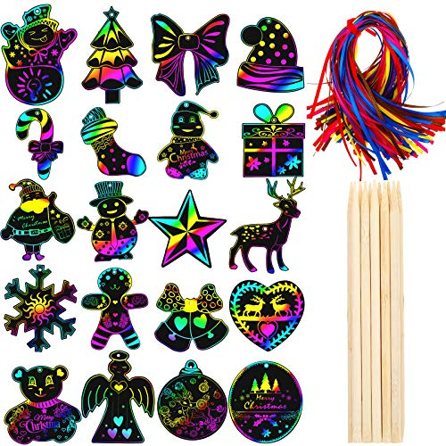 100 Pieces Christmas Scratch Ornaments Paper Christmas Rainbow Colorful Ornaments Scratch off Paper with 12 Pieces Wooden Styluses and 100 Ribbons for Christmas Party Decorations 20 Styles