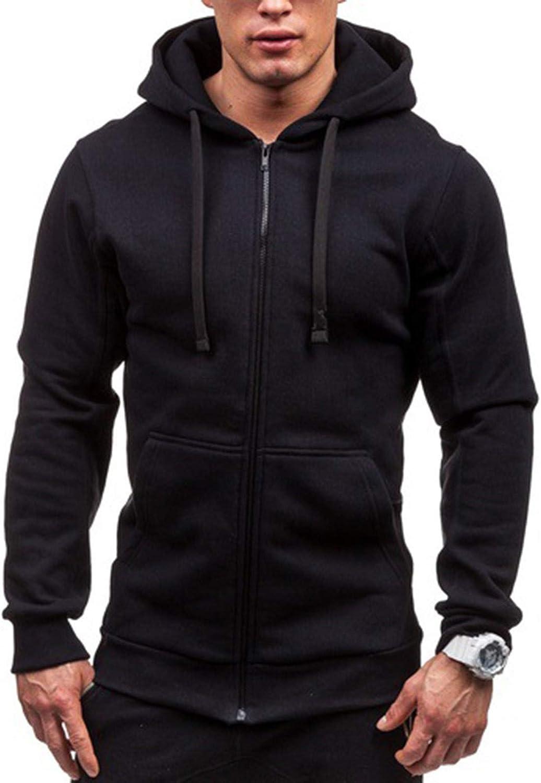 Men Hoodies Plain Zipper Athletic Sweatshirt Casual Long Sleeve Drawstring Workout Sweatshirts Gym Hooded Tops