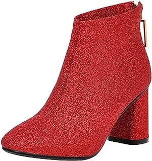 Melady Women Elegant Boots Ankle High Block High Heels
