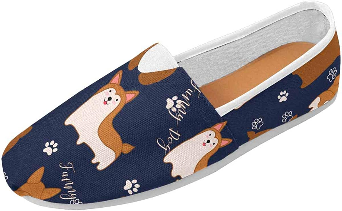 InterestPrint Funny Corgi Dog Women's Comfort Slip-on Loafers