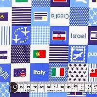50cm(数量:5)から、10cm単位でカットいたします。商用利用OK 国旗で旅する世界旅行(スカイブルー) ラミネート(厚み0.2mm)生地 生地巾110cm ハンドメイド 手作り用生地 商用利用可能 表示価格は10cmあたりの価格です。 T0255700