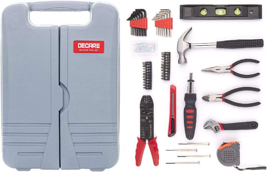 130-Piece Home Tool Kit, Hand Repair Tool Set with Portable Toolbox Storage Case,Perfect for Apartment & Dorm