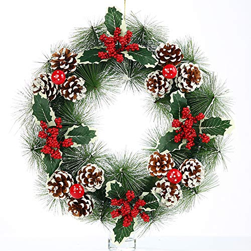 SCCS Türkranz Weihnachten Amerikanisch, Weihnachtsgirlande Tannengirlande Volumen Lebkuchen Künstliche Weihnachtsdeko Balkon Weihnachtskranz Für Tür Aussen Fenster (B, 38CM)