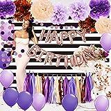 Decoraciones de cumpleaños púrpura para mujer, champán, oro rosa, globos de confeti de oro rosa, globos de confeti de oro rosa, blanco y negro, telón de fondo para fotografía de mujer 30, 40, 50,...