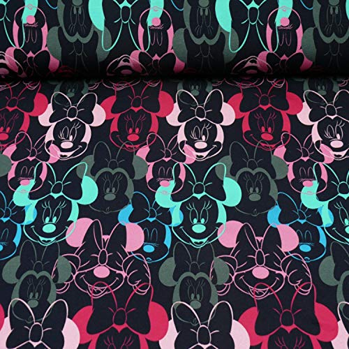 Disney Sweat Minnie Maus, Öko-Tex Standard 100, dunkelblau (25cm x 160cm)